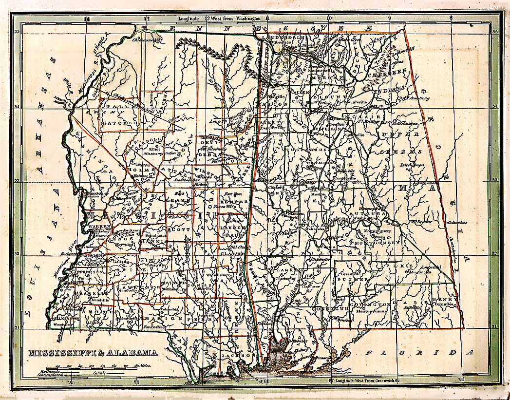 Neshoba County Mississippi Maps At Mississippi Genealogy - Counties in ms map