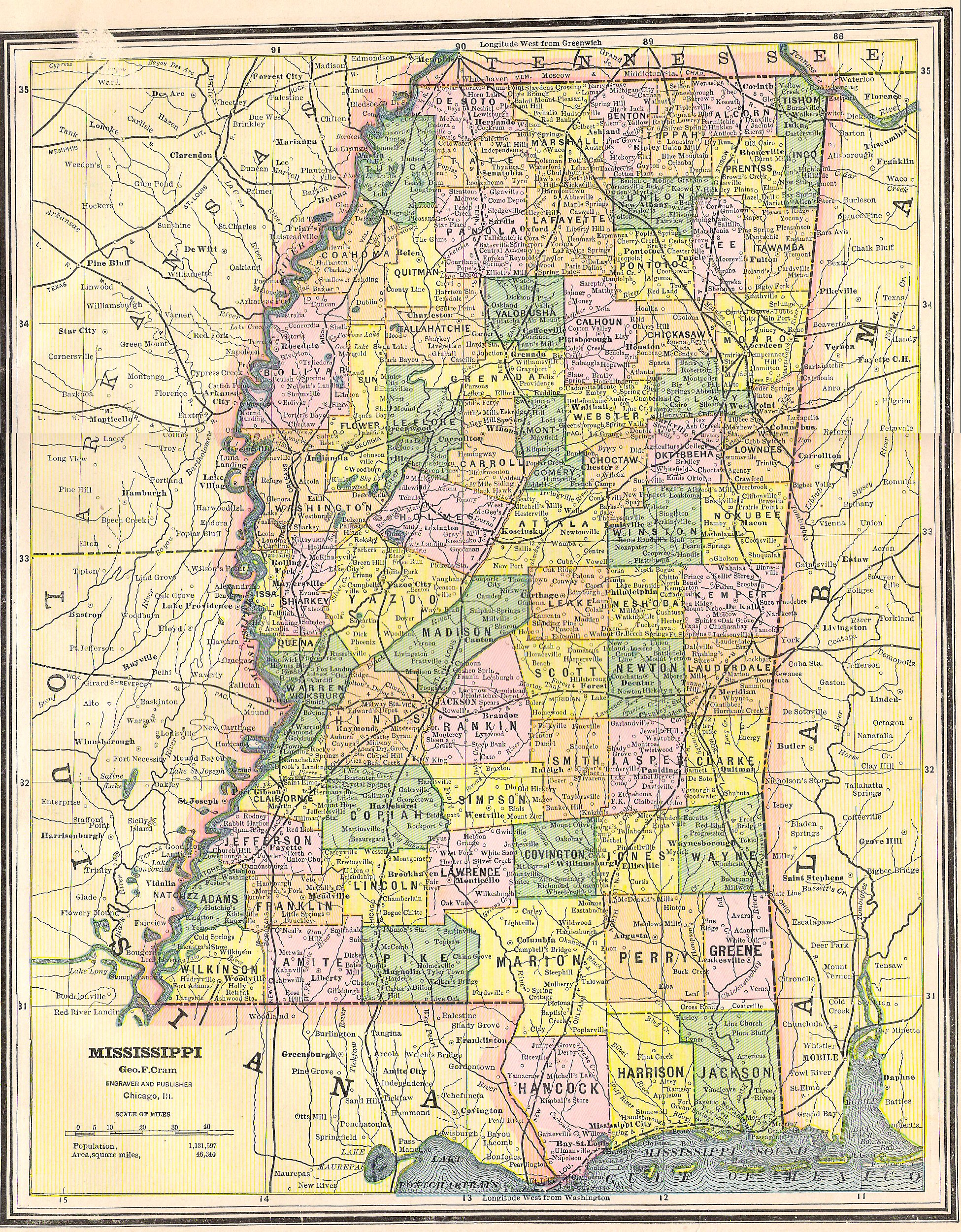 Adams County & Mississippi Maps at Mississippi Genealogy ...